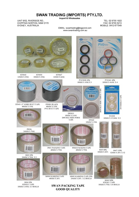 ALL SWAN BRAND PAKAGING TAPES