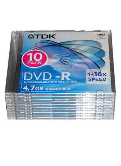 TDK DVD-R 16x 4.7GB 10PCS/SLIM CASE PACK