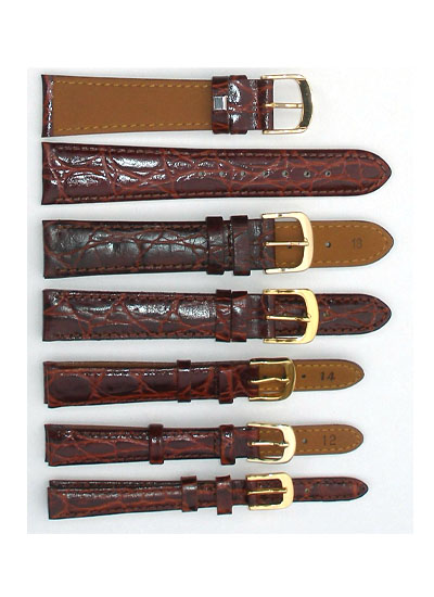 Watch Band - Thick Brown Crocodile Leather