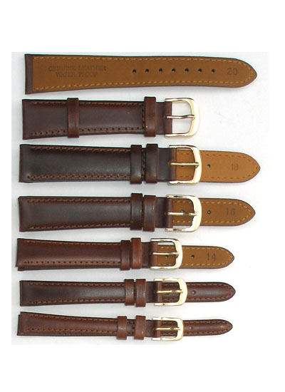 Watch Band - Thick Brown Shiny Leather