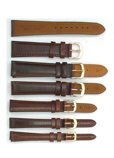 Watch Band - Thick Dark Brown Shiny Leather
