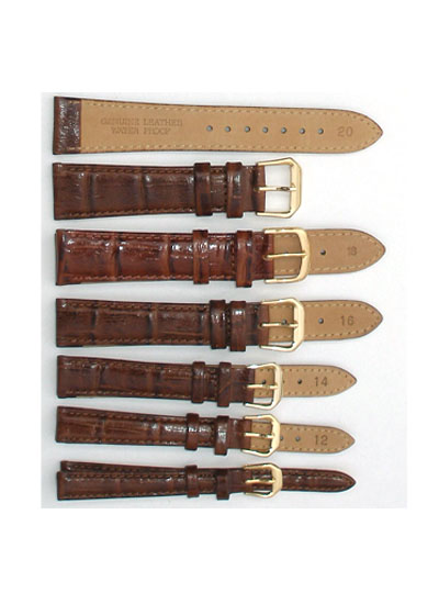 Watch Band - Thick Dark Brown Square Leather